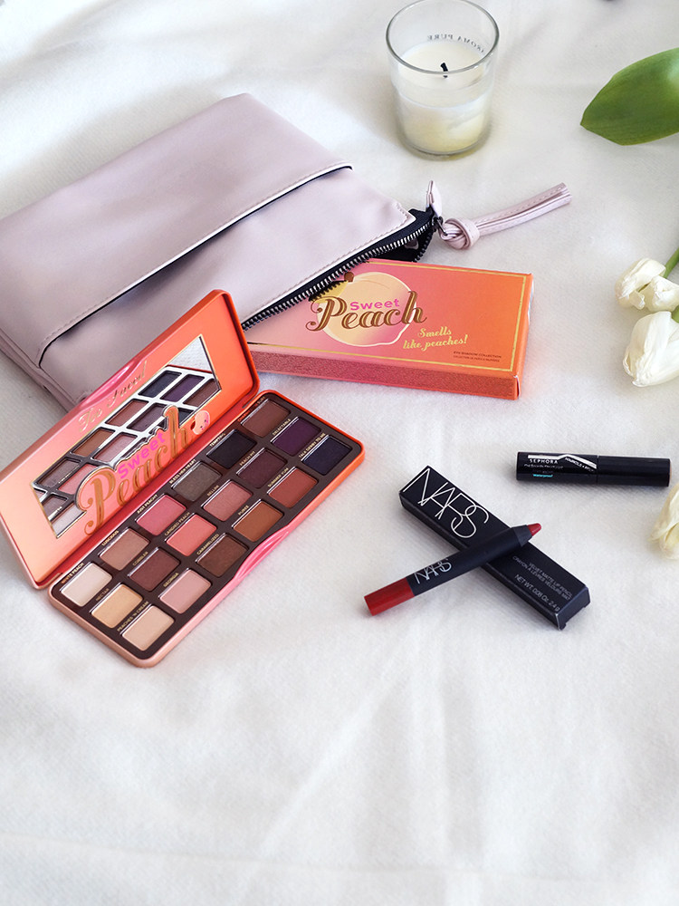 Beauty Products you should consider looking into: Too Faced Sweet Peach Palette, Nars Velvet Matte Lip Pencil in Cruella & Sephora's Brow Builder.